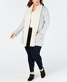 Style & Co Plus Size Fleece-Collar Open Cardigan, Created for Macy's