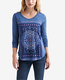 Lucky Brand Graphic Medallion-Print Top