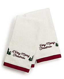 Martha Stewart Collection Very Merry Embroidered Cotton 2-Pc. Fingertip Towel Set, Created for Macy's