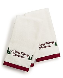 CLOSEOUT! Martha Stewart Collection Very Merry Embroidered Cotton 2-Pc. Fingertip Towel Set, Created for Macy's