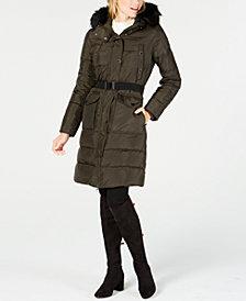 MICHAEL Michael Kors Faux-Fur-Trim Hooded Belted Puffer Coat