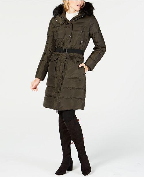 Michael Kors Faux Fur Trim Hooded Belted Puffer Coat