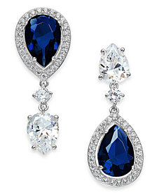 Danori Crystal Drop Earrings in Rhodium-Plate or 18k Gold-Plate, Created for Macy's