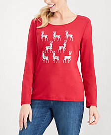 Karen Scott Cotton Holiday-Reindeer Top, Created for Macy's