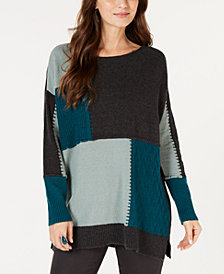 Style & Co Patch Colorblocked Tunic Sweater, Created for Macy's