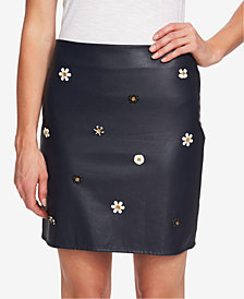 CeCe Faux-Leather Appliqué Mini Skirt