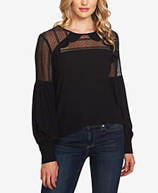 CeCe Lace Blouson-Sleeve Top