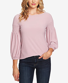 CeCe Smocked Puffed-Sleeve Top