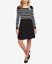CeCe Striped Bow-Neck Sweater Dress