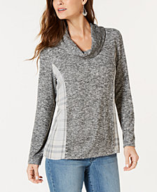 Style & Co Cowl Neck Plaid-Back Top, Created for Macy's