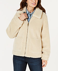 Style & Co Faux-Shearling Zip-Front Teddy Jacket, Created for Macy's