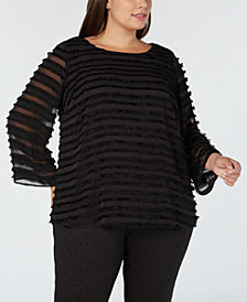 Alfani Plus Size Fringe-Stripe Top, Created for Macy's