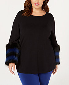Alfani Plus Size Faux-Fur Trim Sweater, Created for Macy's