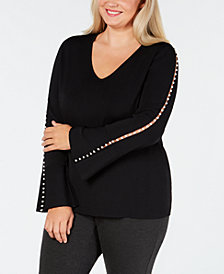 I.N.C. Plus Size Pearl-Trimmed V-Neck Sweater, Created for Macy's