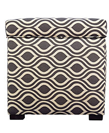 The Sole Secret Square Nicole Ikat Upholstered Shoe Storage Ottoman
