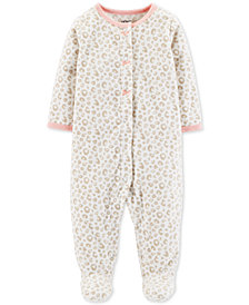 Carter's Baby Girls Leopard-Print Heart Footed Coverall