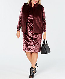 MICHAEL Michael Kors Plus Size Faux-Fur Vest and Velvet Dress