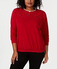 Alfred Dunner Plus Size Classics Embroidered Layered-Look Sweatshirt