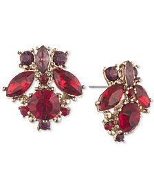 Marchesa Gold-Tone Stone Cluster Drop Earrings