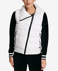 DKNY Sport Asymmetrical-Zip Down-Filled Vest