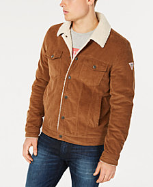 GUESS Men's Corduroy Fleece-Lined Trucker Jacket
