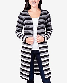 NY Collection Petite Striped Duster Cardigan