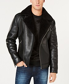 Men's Faux-Leather Fleece-Lined Asymmetrical Full-Zip Moto Jacket