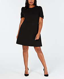 Calvin Klein Plus Size Puff-Sleeve Shift Dress