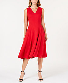 Calvin Klein V-Neck Midi Fit & Flare Dress