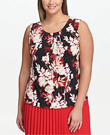 Calvin Klein Plus Size Floral-Print Pleated Shell