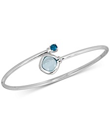Multistone (1-1/3 ct. t.w.) Bangle Bracelet in 14k Rose Gold over Sterling Silver(Also Available in Blue Topaz)