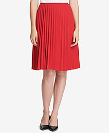 Calvin Klein Petite Pleated A-Line Skirt