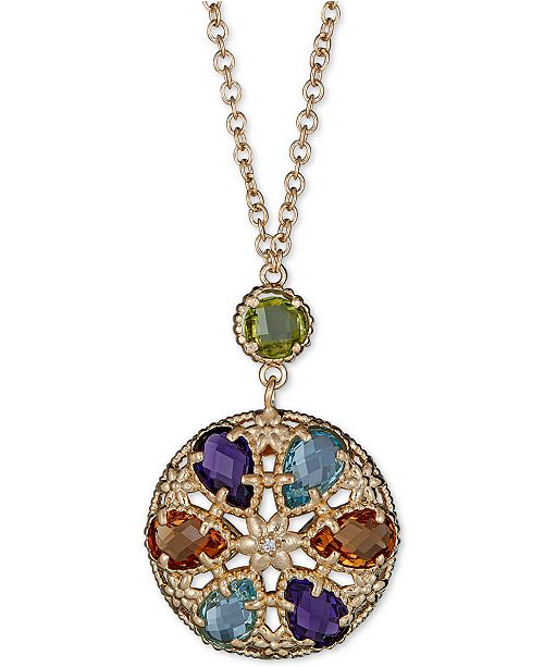 """Macy's Multi-Gemstone 18"""" Pendant Necklace (7-3/4 ct. t.w.) in 14k Gold-Plated Sterling Silver"""