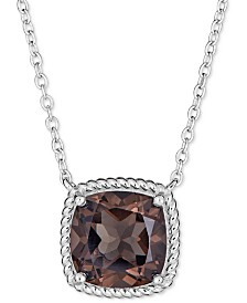 "Smoky Quartz 18"" Pendant Necklace (4 ct. t.w.) in Sterling Silver"