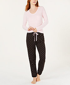Jenni Ribbed Hacci Sleep Top & Brushed Terry Pajama Pants, Created for Macy's
