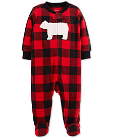 Carter's Baby Boys Plaid Bear Footed Coverall