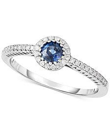 Sapphire (3/8 ct. t.w.) & Diamond (1/8 ct. t.w.) Ring in 14k White Gold