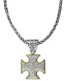 Balissima by EFFY Diamond Cross Pendant (1/2 ct. t.w.) in 18k Gold and Sterling Silver