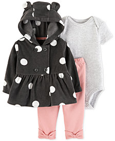 Carter's Baby Girls 3-Pc. Hooded Jacket, Bodysuit & Leggings Set