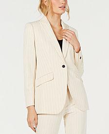 Anne Klein One-Button Striped Jacket