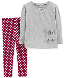 Carter's Baby Girls 2-Pc. Pocket Top & Floral-Print Leggings Set
