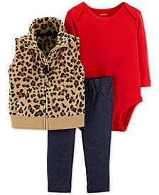 Carter's Baby Girls 3-Pc. Animal-Print Vest, Bodysuit & Pants Set