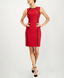 Kasper Piped-Trim Sheath Dress