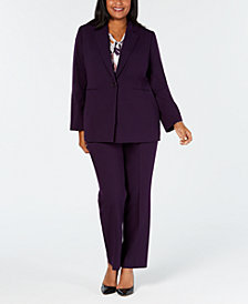 Nine West Plus Size Blazer, Printed Shell & Trousers