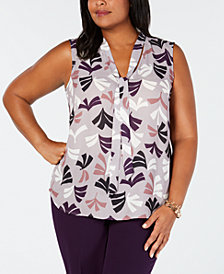 Nine West Plus Size Printed Bow Blouse