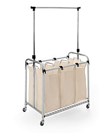 Mobile 3-Bag Heavy-Duty Laundry Hamper Sorter Cart With Clothes Rack