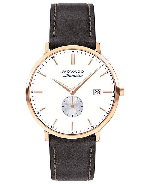 Movado Men's Heritage Series Calendoplan Chocolate Leather Strap Watch 40mm