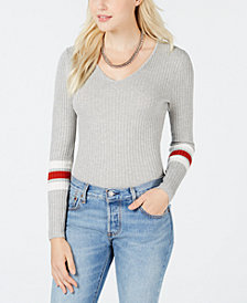 Hooked Up by IOT Juniors' Lace-Up Varsity-Stripe Sweater