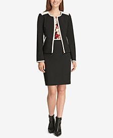 Calvin Klein Piped Jacket, Floral-Print Top & Pencil Skirt