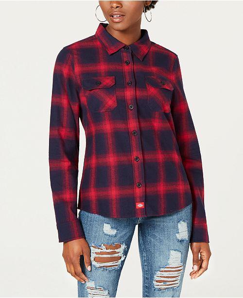 382c926efbd Dickies Cotton Logo-Graphic Flannel Shirt   Reviews - Tops - Juniors ...